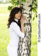 Girl at tree