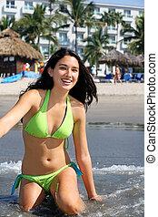 Girl at tropical resort