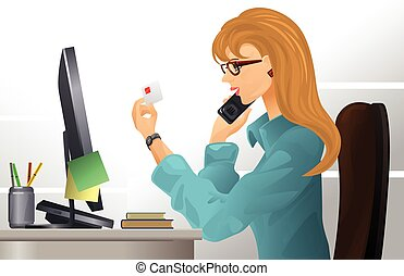 Vector illustration of a girl at workplace
