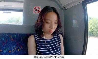 girl, autobus, musique écouter, 4k