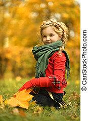 girl, automne, parc