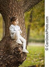 girl, automne, peu, parc