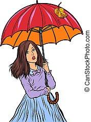girl, autumn., parapluie