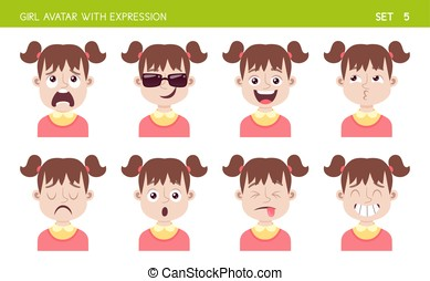 Girl avatar with expressions