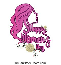 Girl avatar with roses. Happy women day