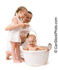 girl, avoir, bain