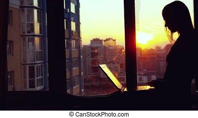 girl, bâtiment, beau, surprenant, jeune, silhouette, fond, ordinateur portable, ville, pendant, fenêtre, elle, business, séance, sunset., fonctionnement, moderne, femme, brunette, brouillé