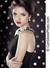 girl, backgr, modèle, glam, beauté, brunette, bokeh, lumières, mode, sur