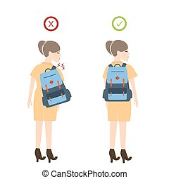 girl backpack correct posture position good for back pain