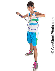 girl, badminton, jeune, jouer