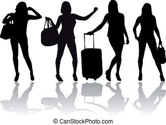 girl, bagage