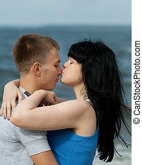 girl, baisers, elle, petit ami