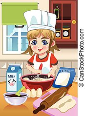Girl Baking in the Kitchen