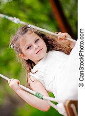 girl, balançoire, cour de récréation, oscillation, enfant