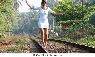 Girl Balances on Rails, 4K