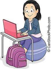 girl, balle, ordinateur portable, exercice, gosse