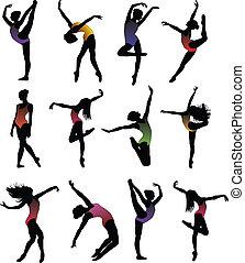 girl, ballet, silhouettes, ensemble, danse