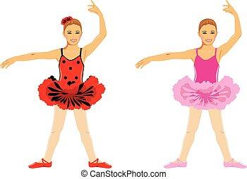 girl., balletto, bambini, ballo