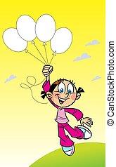girl, ballons