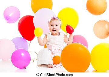 girl, ballons, gosse