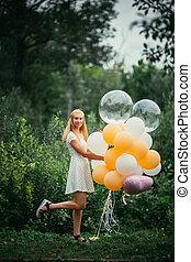 girl, ballons, jeune, fond, nature