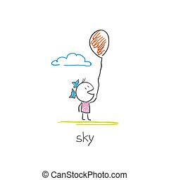 girl, balloon