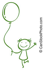 girl, balloon, tenue