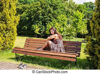 girl, banc, parc, jeune, séance