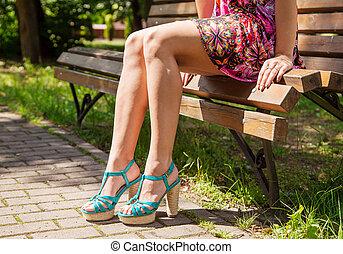 girl, banc, parc, séance