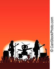 Girl Band - Silhouette of a girl rock band with equipment on...