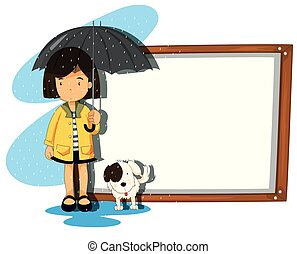 girl, bannière, chien, pluie, gabarit
