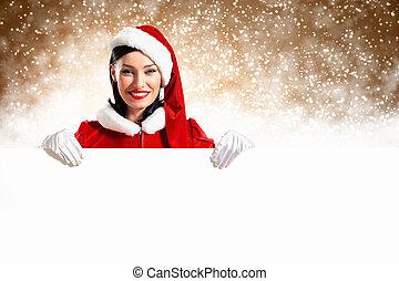 girl, bannière, santa, vide