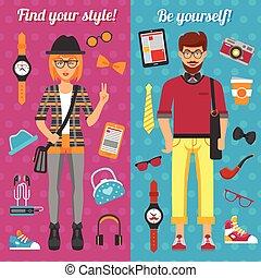 girl, bannières, vertical, garçon, hipster