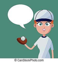 girl baseball player bubble speech