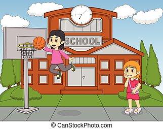 girl, basket-ball, jouer