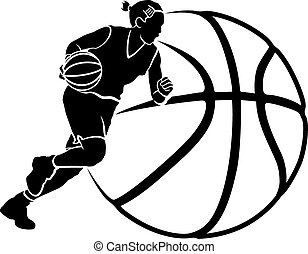 Basketball silhouette of a female basketball player dribbling by a stylized ball.