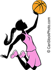 Silhouette illustration of girl in the air going for the basket in a pink uniform for Breast Cancer Awareness.