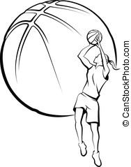 Girl Basketball Player Shooting - Vector illustration of a...