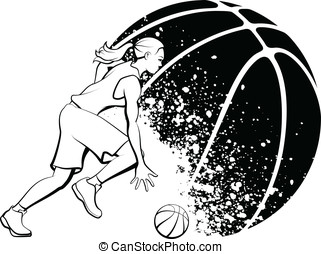 Girl Basketball with Grunge Ball - Black and White vector...
