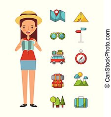 girl beach illustration