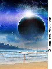 Girl Beach Planet Matte-Painting Sci-fi Illustration