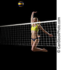 Girl beach volleyball player (ver with ball and net) - Young...