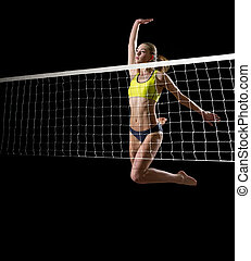 Girl beach volleyball player (ver with net) - Young girl...