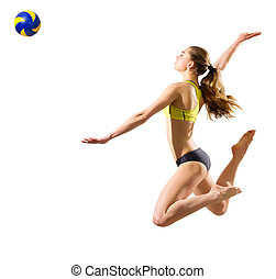 Girl beach volleyball player (ver with ball) - Young girl...
