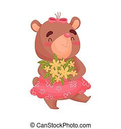 Girl bear carries a bouquet of flowers. Vector illustration on white background.
