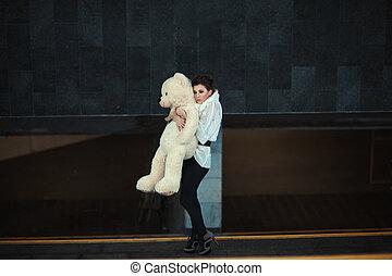 girl, bear., triste