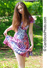 girl, beau, été, jardin