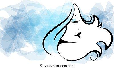 girl, beau, boucles, silhouette, coiffeur cheveux