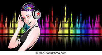 Girl - Beautiful girl listening to music