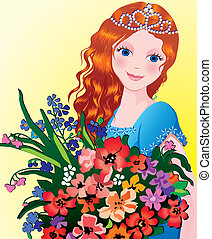 Girl. - Beautiful girl with flowers. Vector...